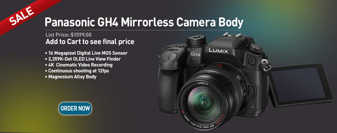 Panasonic GH4 Digital Mirrorless Camera Body. Our Price: $1599.00. Order Now.