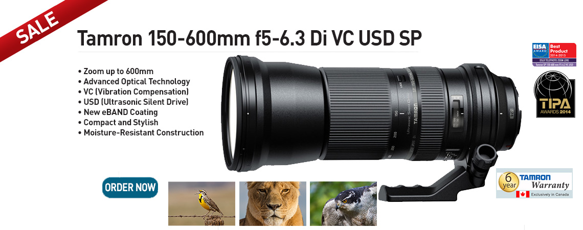 Tamron 150-600mm f5-6.3 Di VC USD SP Lens. Now on SALE. Order Now.