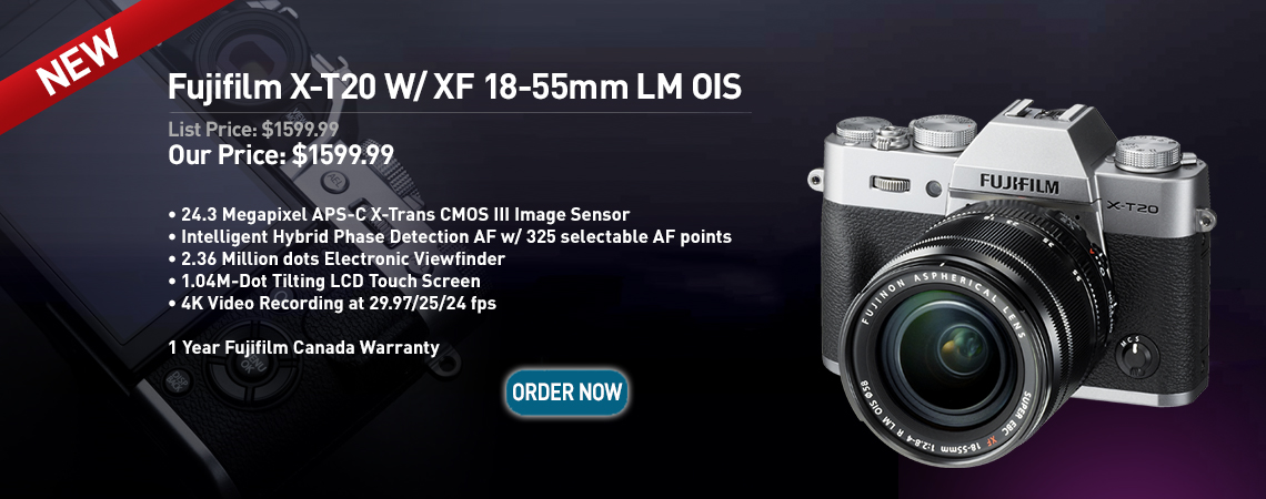Fujifilm X-T20 w/ XF 18-55mm LM OIS. Our Price: $1599.99. Order Now.