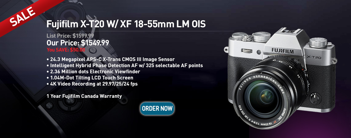 Fujifilm X-T20 w/ XF 18-55mm LM OIS. Our Price: $1549.99. Order Now.