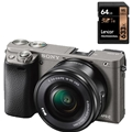 Sony a6000 w/16-50mm Power Zoom (Silver) (ILCE6000L/S) <br/> w/ Lexar Professional 633x 64GB SDXC Card