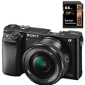 Sony a6000 w/ 16-50mm Power Zoom (Black) (ILCE6000L/B)  <br/> w/ Lexar Professional 633x 64GB SDXC Card