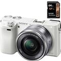 Sony a6000 w/ 16-50mm Power Zoom (White) (ILCE6000L/W) <br/> w/ Lexar Professional 633x 64GB SDXC Card