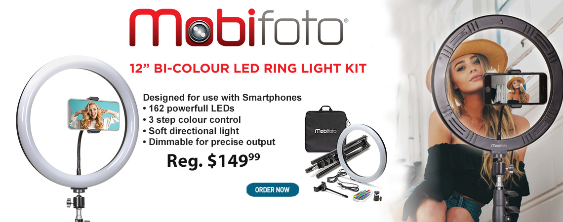 "Mobifoto 12"" Bi-Colour LED Ring Light Kit"