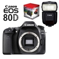 Canon EOS 80D DSLR Camera (Body Only) <br> w/ Canon 430EX III RT Speedlite, Gadget Bag & LP-E6N Battery Pack