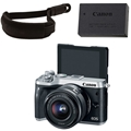 Canon EOS M6 Mirrorless Camera w/ 15-45mm Lens (Silver) <br> w/ Canon Wrist Strap & LP-E17 Battery Pack!