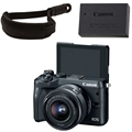 Canon EOS M6 Mirrorless Camera w/ 15-45mm Lens (Black) <br> w/ Canon Wrist Strap & LP-E17 Battery Pack!