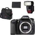Canon EOS 80D DSLR Camera (Body Only) <br> w/ Canon 430EX Flash, Gadget Bag & LP-E17 Battery Pack