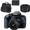 Canon EOS Rebel T7i DSLR Camera w/ 18-55mm STM <br> w/ Canon EF 50mm F1.8 STM, Gadget Bag & LP-E17 Battery