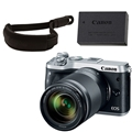 Canon EOS M6 Mirrorless Camera w/ 18-150mm Lens (Silver) <br> w/ Canon Wrist Strap & LP-E17 Battery Pack!