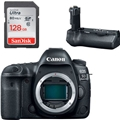 Canon EOS 5D Mark IV DSLR Camera (Body Only) <br> w/ BG-E20 Battery Grip & Sandisk Ultra 128GB SD Card! + Extra Battery + Canon Gadget Bag