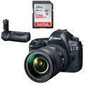 Canon EOS 5D Mark IV DSLR Camera w/ 24-105mm F4L II Lens <br> w/ BG-E20 Battery Grip & Sandisk Ultra 128GB SD Card!
