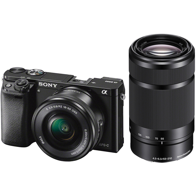 Sony A6000 w/ 16-50mm & 55-210mm Lenses (Black) (ILCE6000Y/B)