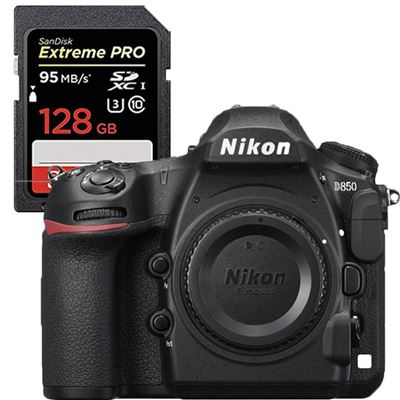 Nikon D850 DSLR Camera (Body) <br>w/ Sandisk Extreme 128GB SD Card plus EN-EL15a