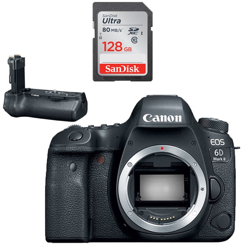 Canon EOS 6D Mark II DSLR Camera (Body)<br> w/ BG-E21 Battery Grip & Sandisk Ultra 128GB SD Card! + Canon Speedlite 470EX-AI Flash