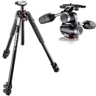 Image of Manfrotto #MT190XPro3 - 190 Aluminum 3-Section Tripodw/ MHXPro-3W - 3 Way Head