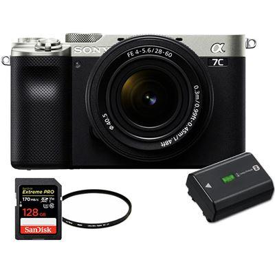 Image of Sony Alpha a7C Mirrorless Camera w/ 28-60mm Lens (Silver) + BONUS ITEMS