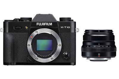 Image of Fujifilm X-T10 Body (black) with XF 35mm f/2 R WR Lens (black)