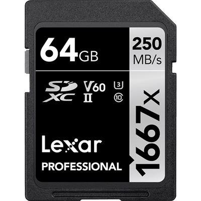 Image of Lexar 64GB Professional 1667x UHS-II SDXC Memory Card