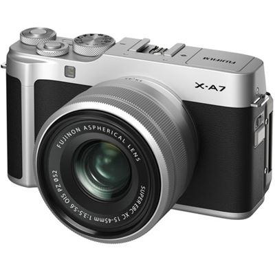 Image of FUJIFILM X-A7 Mirrorless Digital Camera w/ 15-45mm Lens (Silver) + BONUS