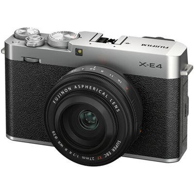 Image of FUJIFILM X-E4 Mirrorless Digital Camera w/ XF 27mm F2.8 R WR Lens (Silver)