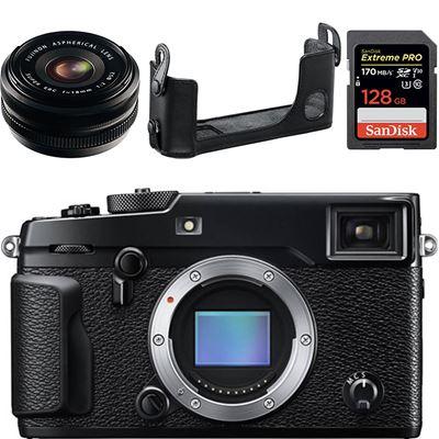 Image of Fujifilm X-Pro2 Digital Camera Body w/ XF 18mm F2 lens & BLC-Leather Case & Sandisk Extreme Pro 128GB SD Card Bundle **
