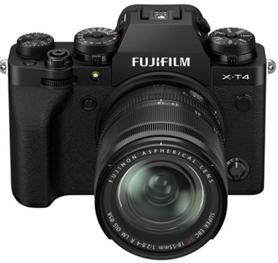 Image of Fujifilm X-T4 Mirrorless Camera w/ 18-55mm Lens (Black) + BONUS